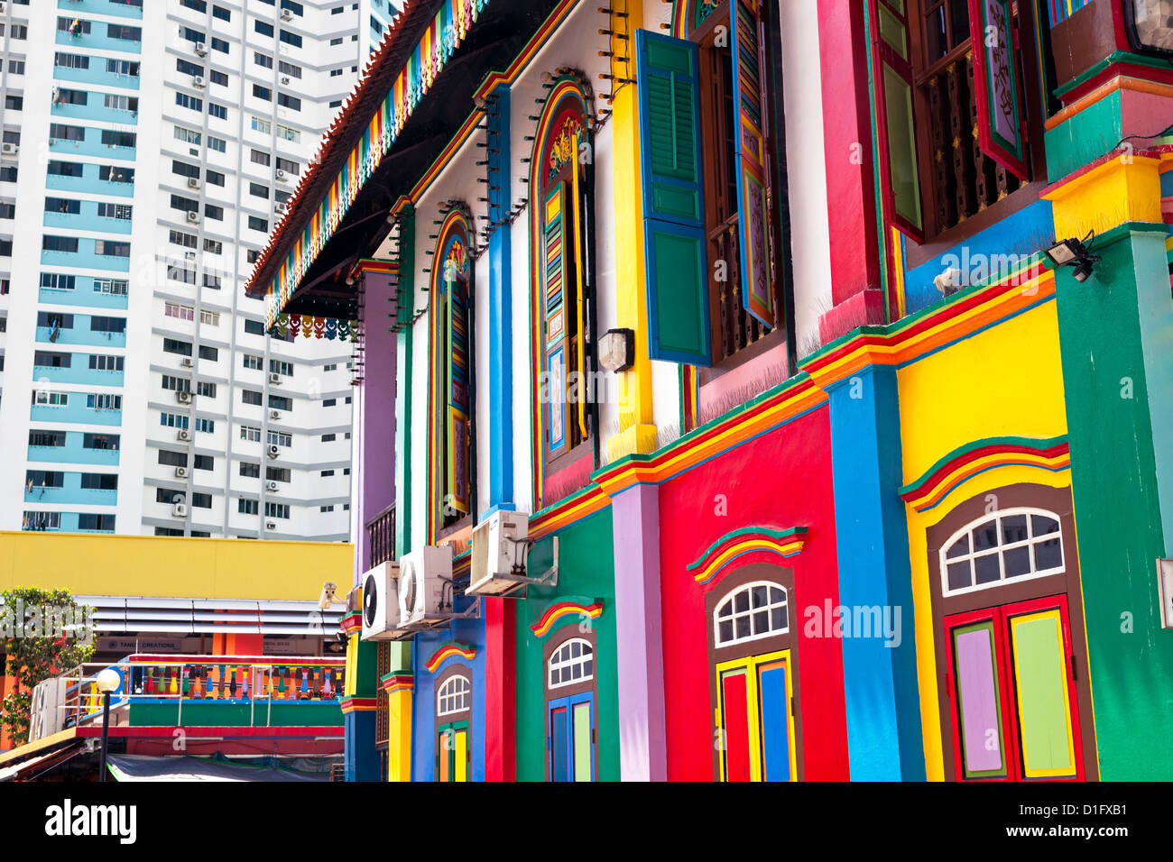 Colourful Heritage Villa, the residence of Tan Teng Niah, Little India, Singapore, Southeast Asia, Asia - Stock Image