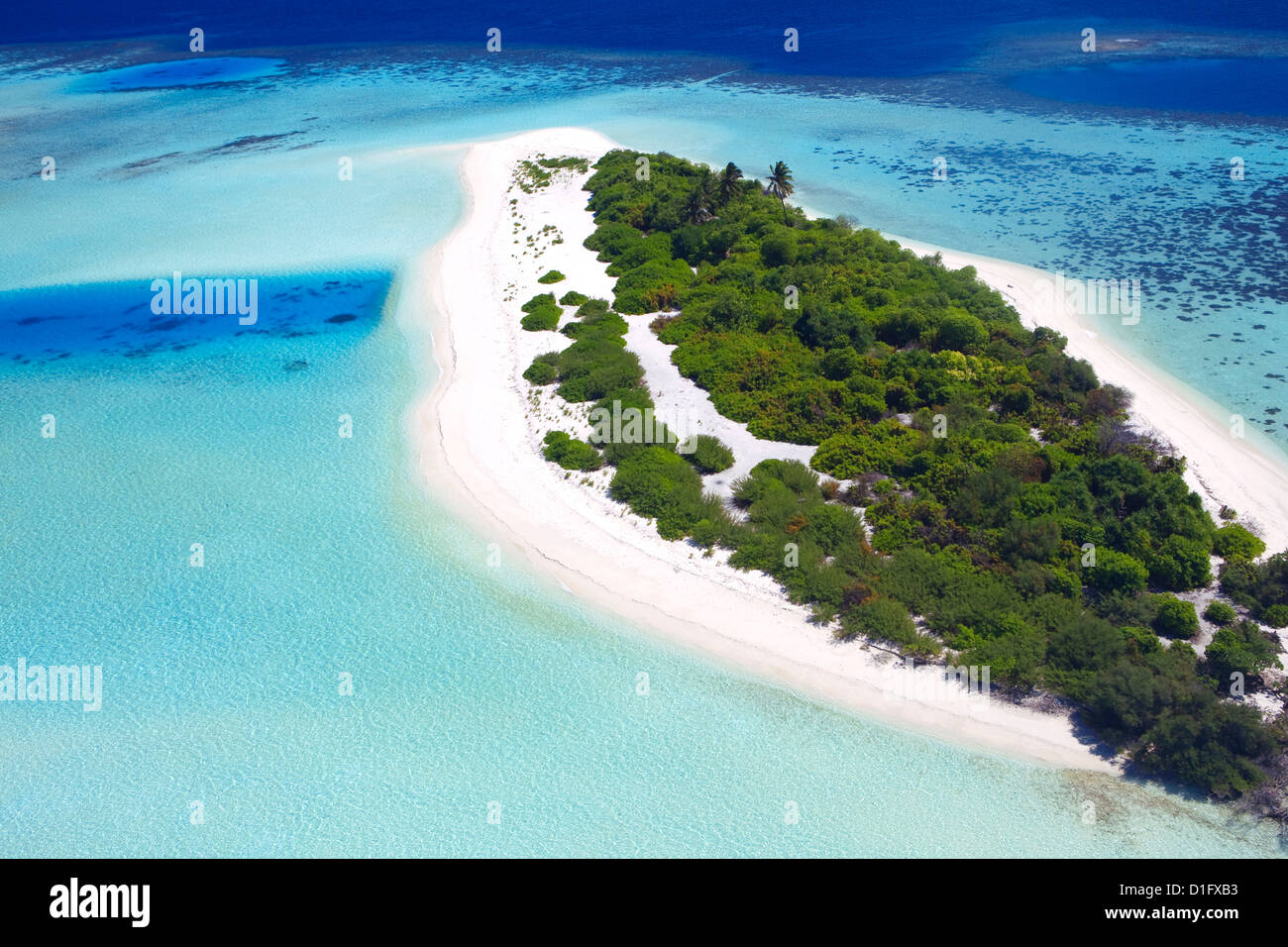 Aerial view of a desert  island, Maldives, Indian Ocean, Asia - Stock Image