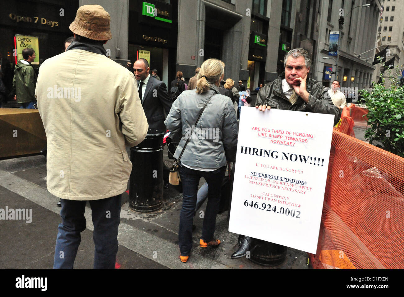 Unemployed American protest in Wall Street in Manhattan New York. - Stock Image
