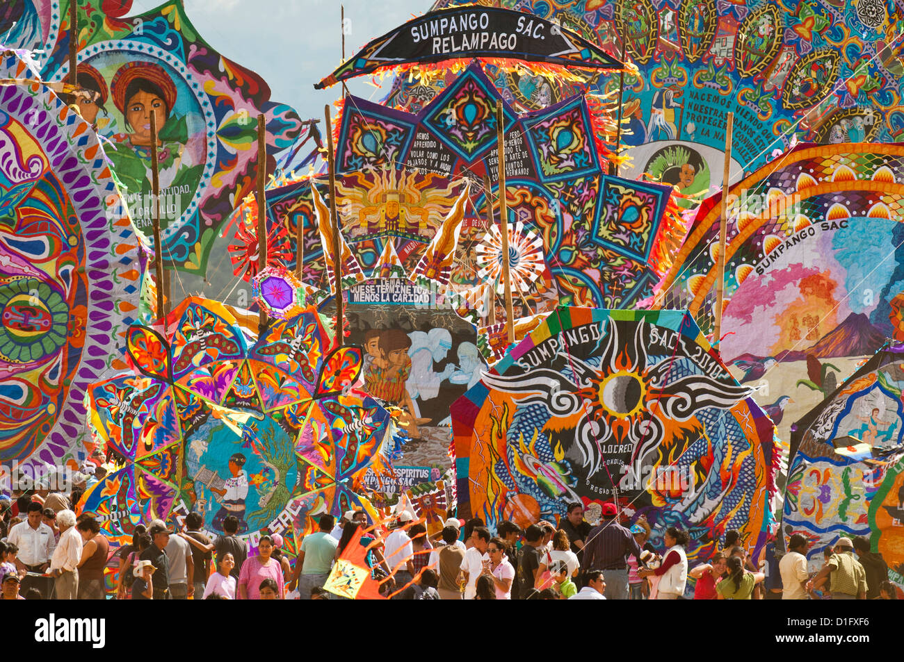 Day Of The Dead kites (barriletes) ceremony in cemetery of Sumpango, Guatemala, Central America - Stock Image