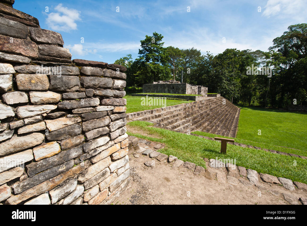 Mayan ruins at Quirigua Archaeological Park, UNESCO World Heritage Site, Guatemala, Central America - Stock Image