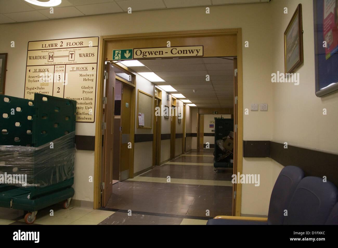 Ysbyty Gwynedd Bangor North Wales Entrance to 2nd Floor Wards in Hospital - Stock Image