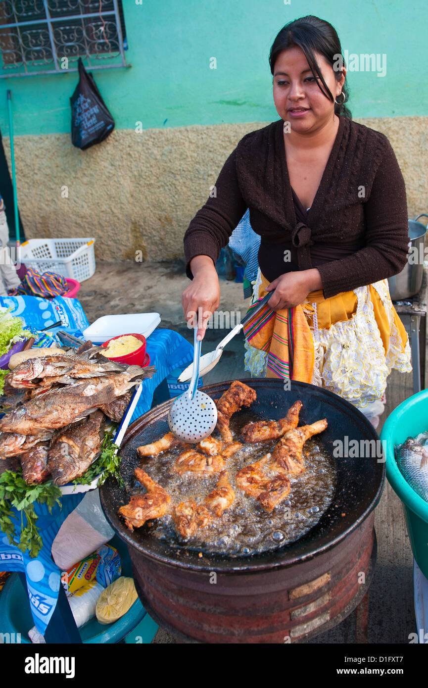 Pollo Campero (fried chicken) in the market at Santiago Sacatepequez, Guatemala, Central America - Stock Image