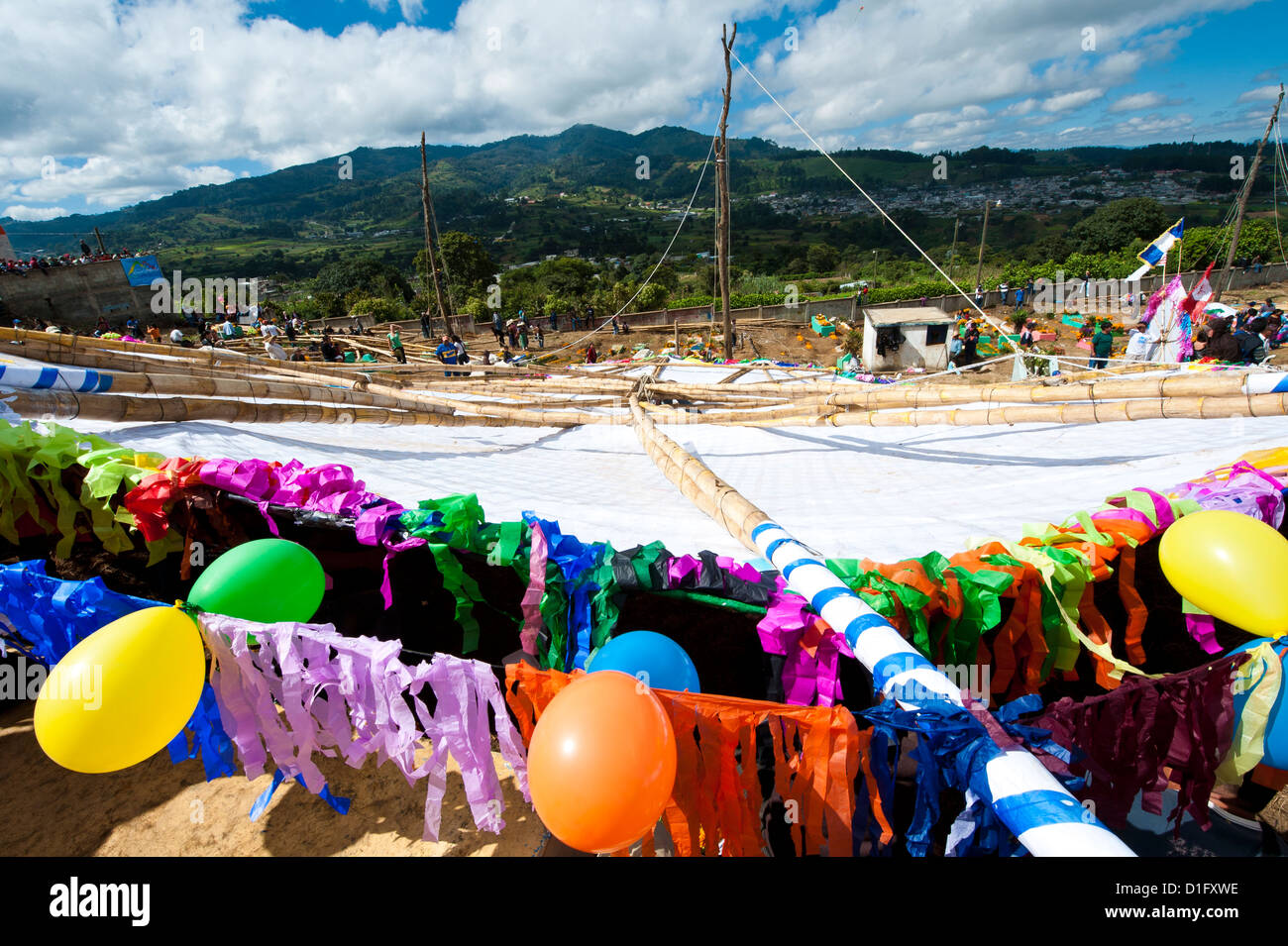 Day Of The Dead kites (barriletes) in cemetery in Santiago Sacatepequez, Guatemala, Central America - Stock Image