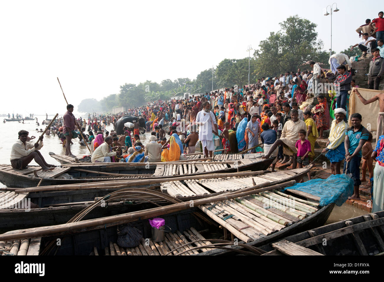 Wooden ferryboats used to take people across the River Ganges between Patna and Sonepur Cattle Fair, Bihar, India - Stock Image