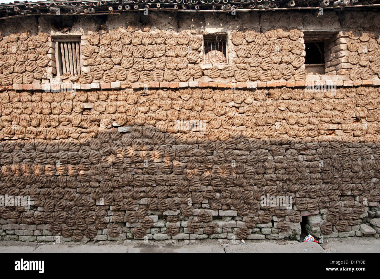 Village house with walls covered completely with hand shaped dung pats left there to dry in the sun, Sonepur, Bihar, - Stock Image