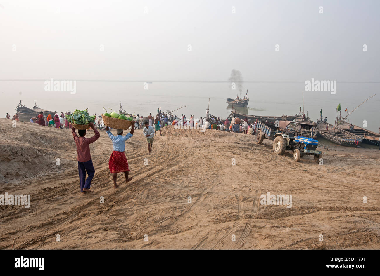 Two men carrying baskets of cauliflower and pumpkins on their heads, down to boats on the River Ganges, Sonepur, - Stock Image