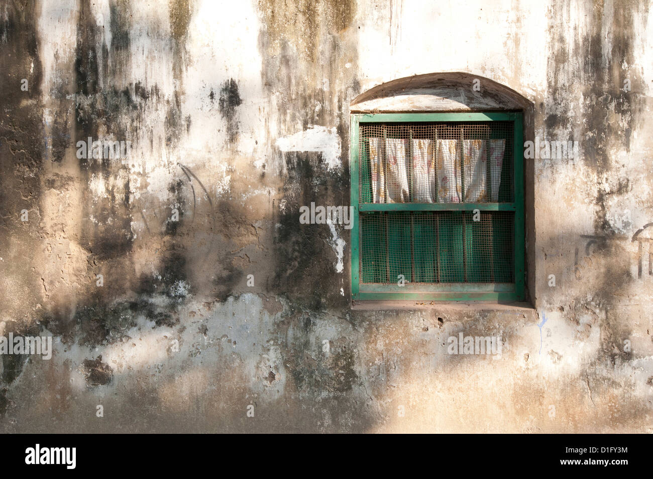Dappled sunlight on college building wall and window, Serampore, West Bengal, India, Asia - Stock Image