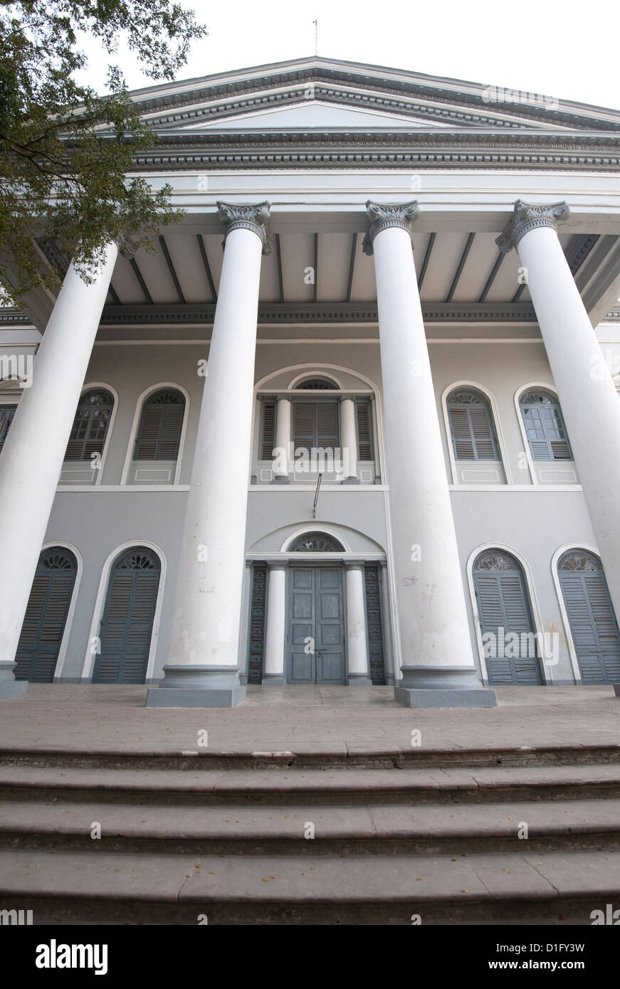 Entrance to Serampore College, in the old Danish colony on the banks of the River Hooghly, Serampore, West Bengal, - Stock Image