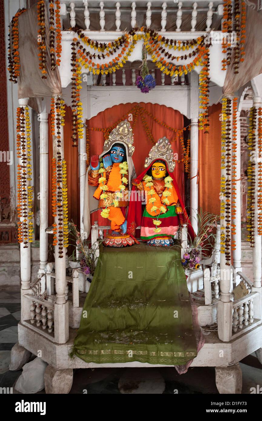Hindu deities Lord Krishna and his consort Radha in the shrine at Lalji Mandir, Kalna, West Bengal, India, Asia Stock Photo