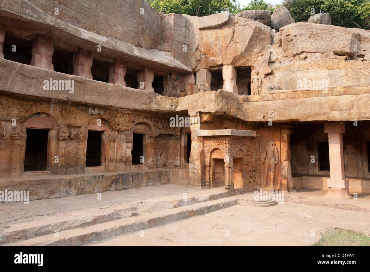 Ranigumpha, cave number 1 of Udayagiri caves, once used as meeting place for Jain monks, Bhubaneshwar, Orissa, India - Stock Image