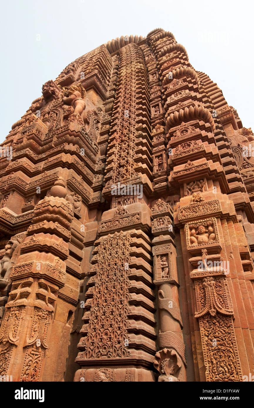 Carved vimula of the 10th century Muktesvara temple, an early example of Nagara architecture, Bhubaneshwar, Orissa, Stock Photo