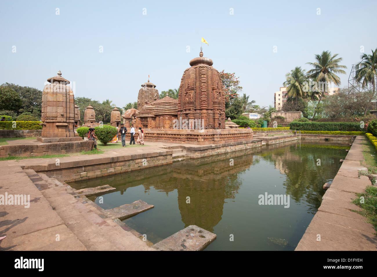 Tank of the 10th century Muktesvara temple complex, early example of Nagara architecture, Bhubaneshwar, Orissa, - Stock Image