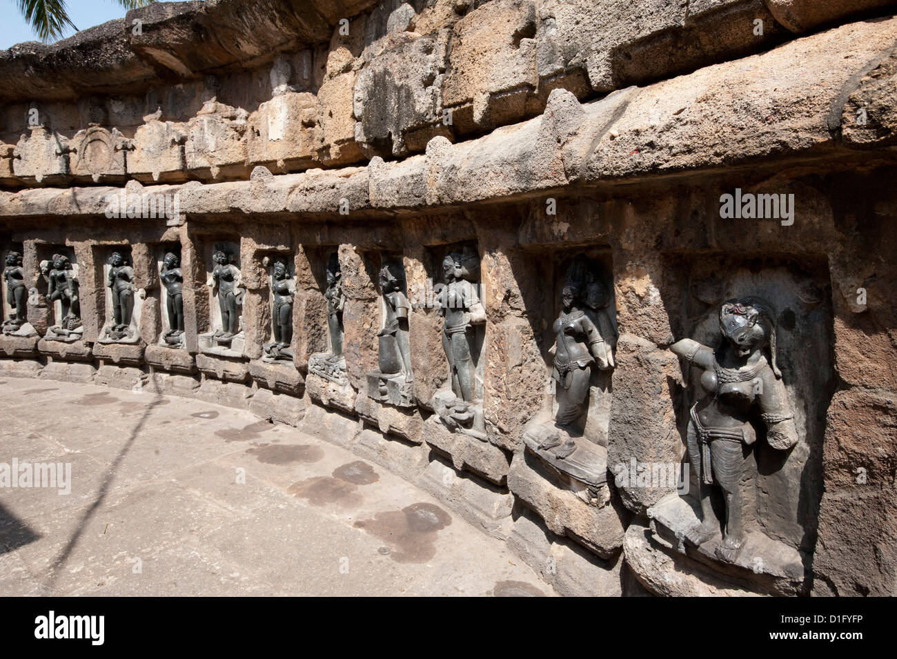 Some of the yoginis in the 9th century hypaethral Yogini Temple, worshipped for assisting goddess Durga, Hirapur, - Stock Image