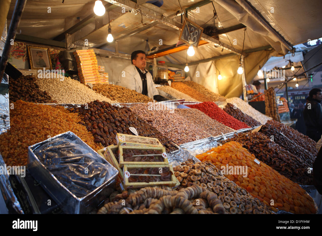 Dried fruit seller, Djemaa el Fna, Marrakech, Morocco, North Africa, Africa - Stock Image