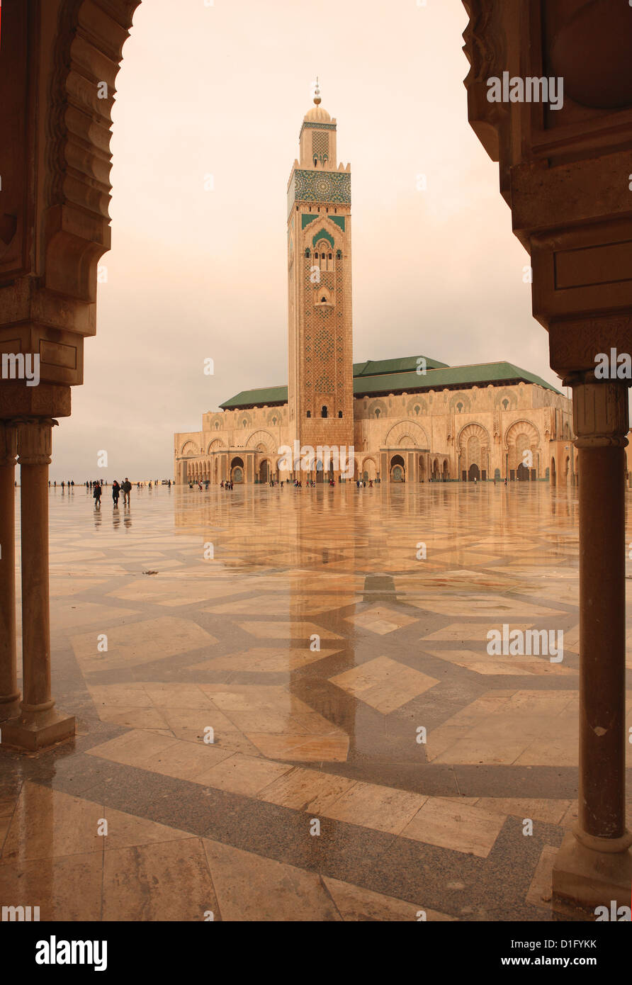 Hassan II Mosque through archway, Casablanca, Morocco, North Africa, Africa - Stock Image