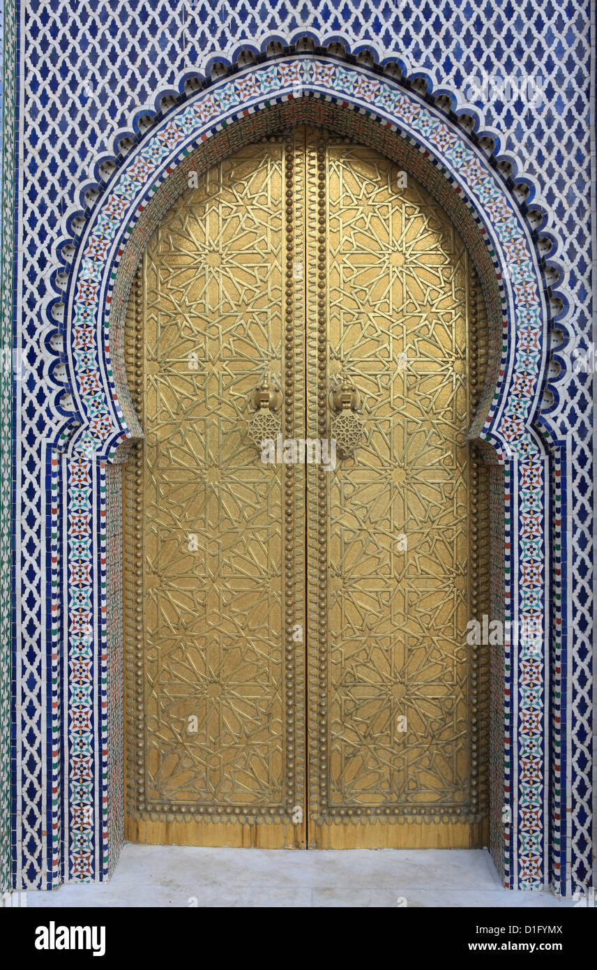 Door, Royal Palace Gates, Fez, Morocco, North Africa, Africa - Stock Image