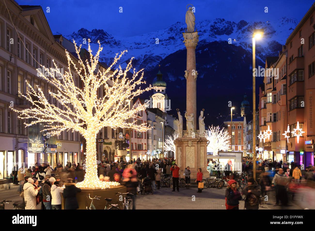 Christmas tree at dusk, Innsbruck, Tyrol, Austria, Europe - Stock Image