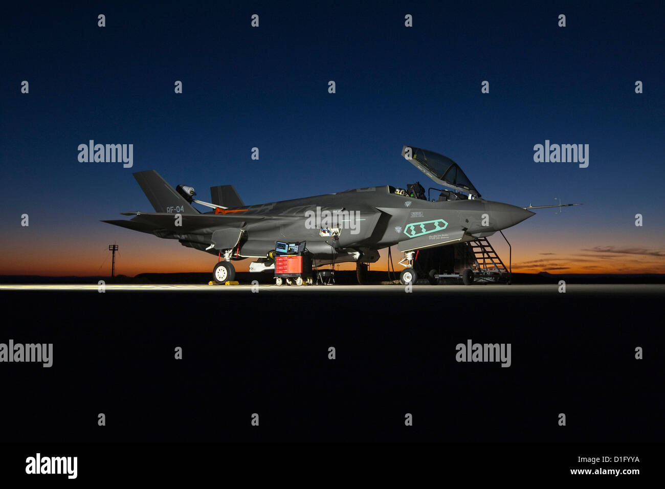 US Air Force F-35 Joint Strike Fighter during ground tests at night October 20, 2012 at Edwards Air Force Base, - Stock Image