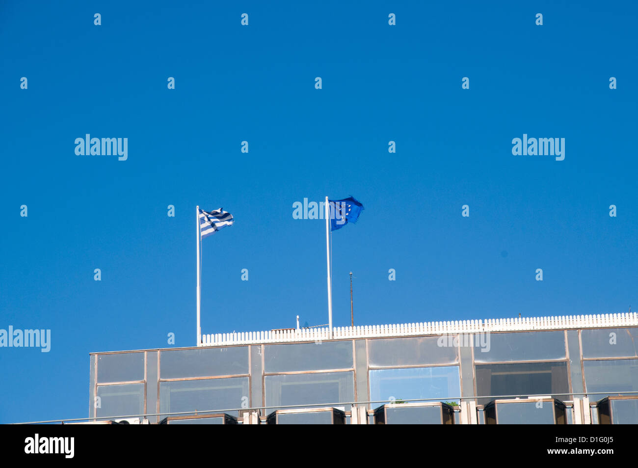 Greek and European union flags, Athens, Greece - Stock Image