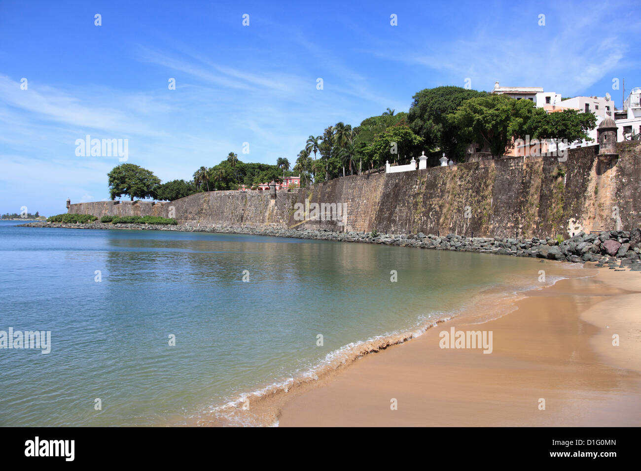 Old City Wall, Old San Juan, San Juan, Puerto Rico, West Indies, Caribbean, United States of America, Central America - Stock Image