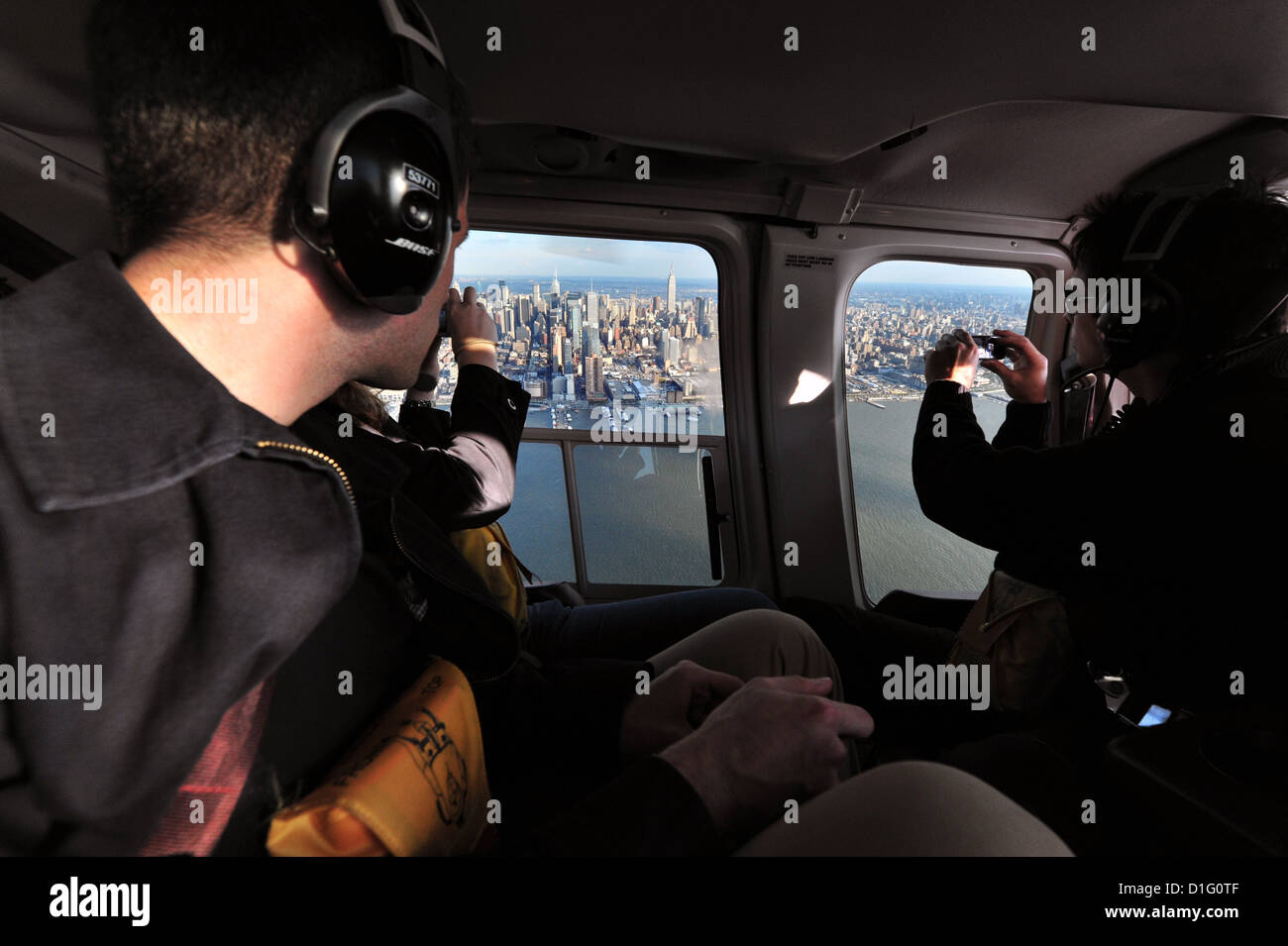 Aerial view of Manhattan from helicopter - Stock Image