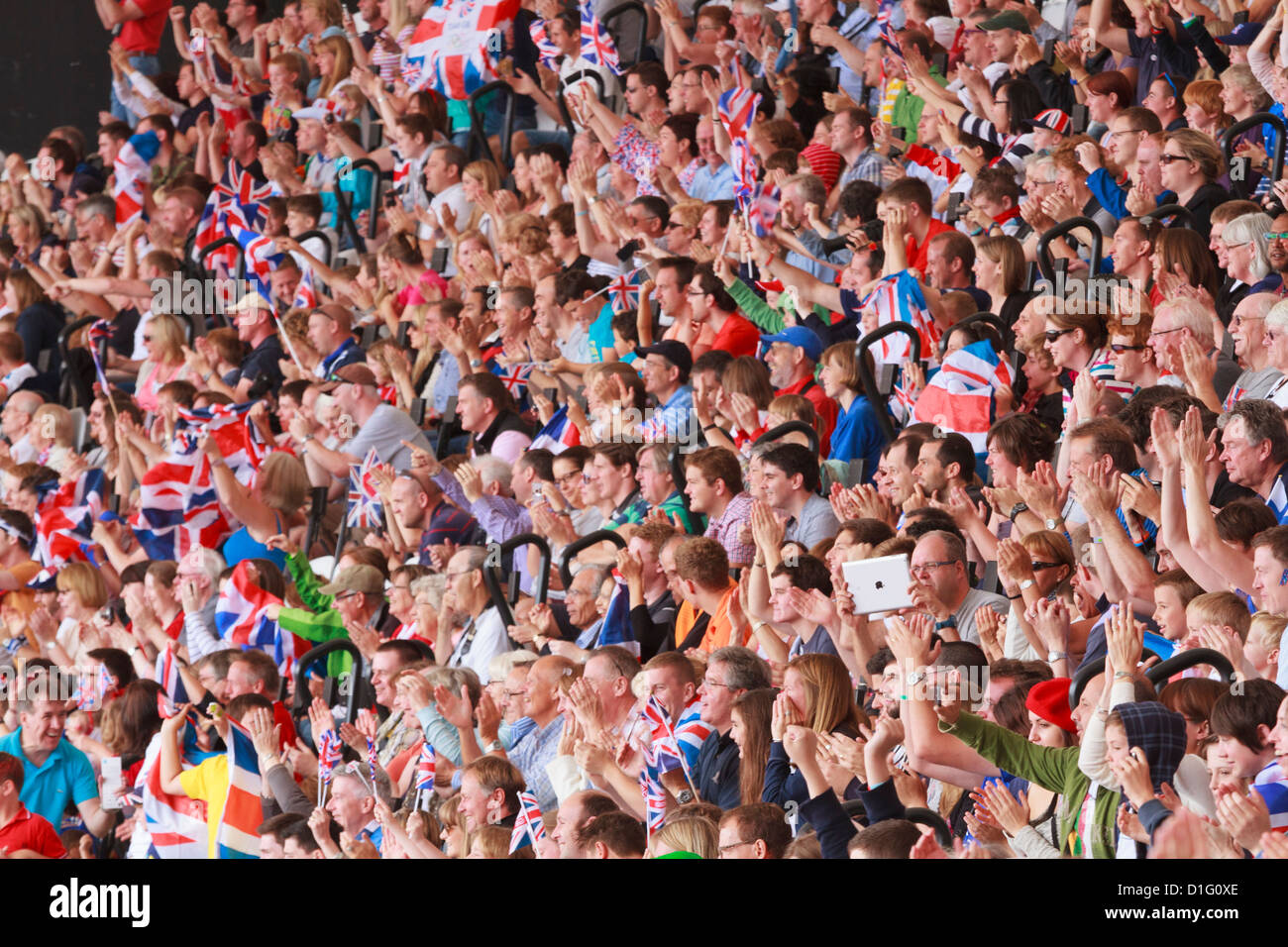 Large crowd of British spectators with Union flags in a sports arena, London, England, United Kingdom, Europe - Stock Image