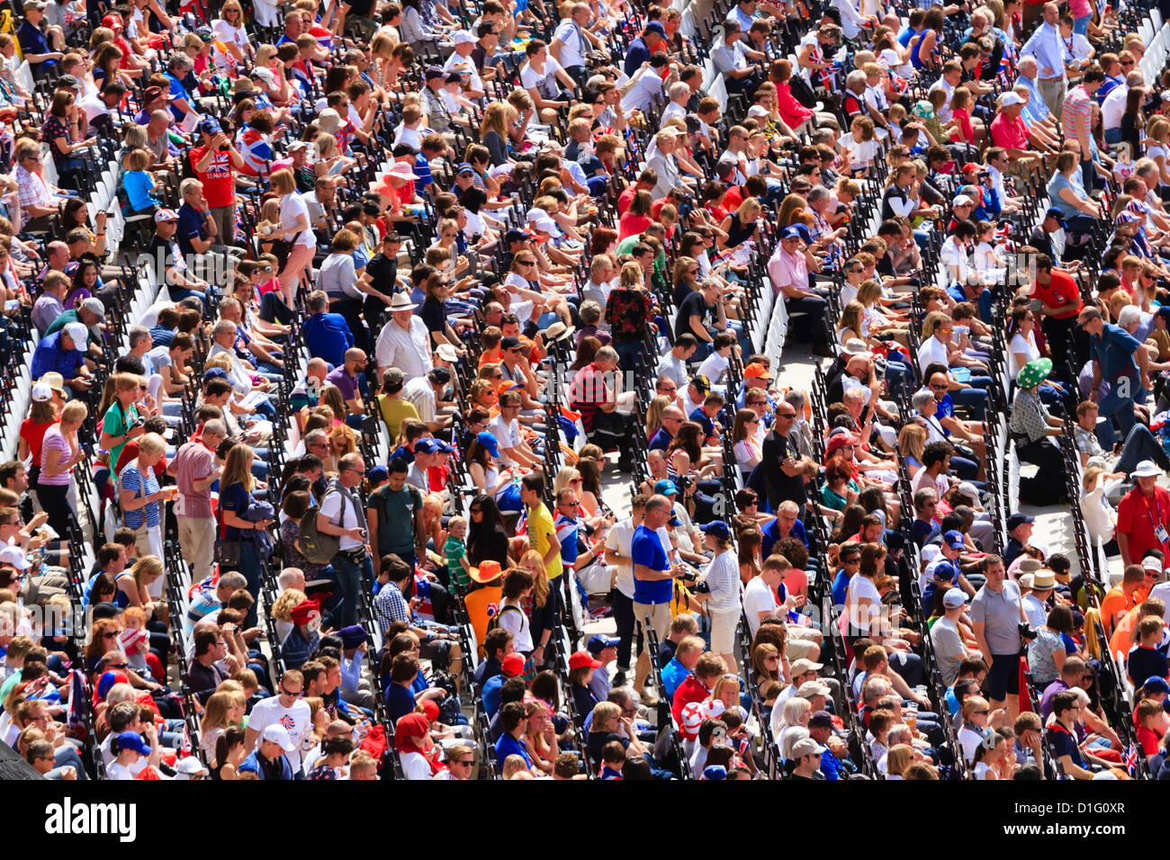 Large crowd of spectators in a sports arena, London, England, United Kingdom, Europe - Stock Image