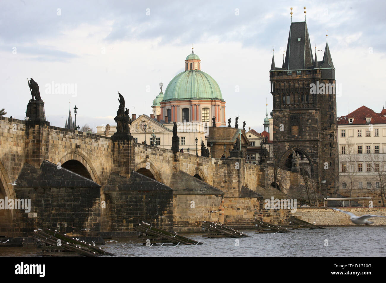 Charles bridge, UNESCO World Heritage Site, and River Vltava, Prague, Czech Republic, Europe - Stock Image