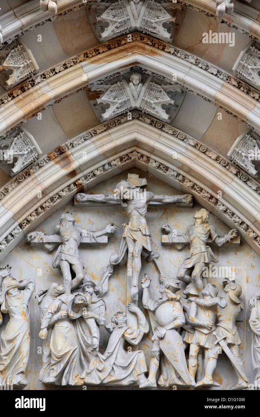 The Crucifixion, St. Vitus's Cathedral tympanum, Prague, Czech Republic, Europe - Stock Image