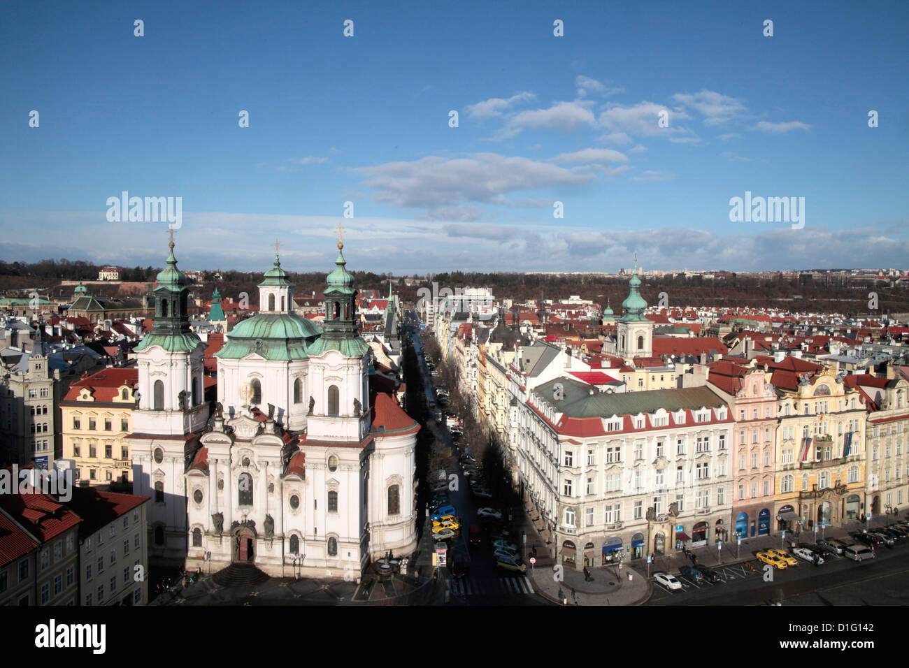 St. Nicholas Church from Town Hall Tower, Prague, Czech  Republic, Europe - Stock Image