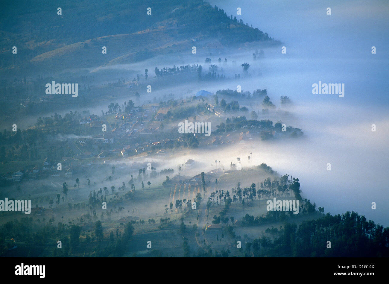 Caldeira and Bromo at 2329 m, and Semeru at 3676 m, volcanoes on Java, Indonesia, Southeast Asia, Asia - Stock Image