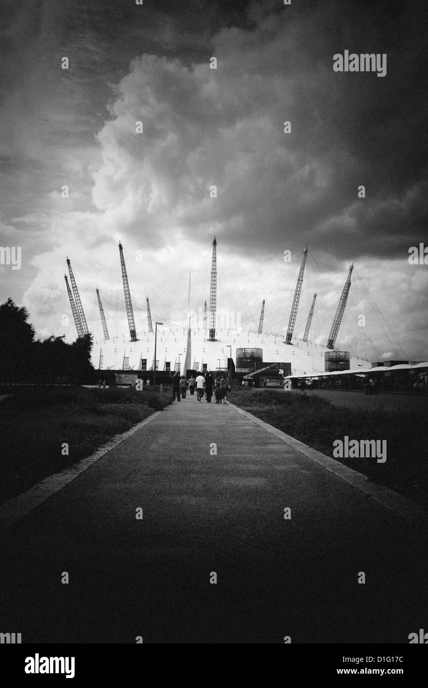 Pin hole shot of long path millennium dome greenwich peninsula, London England UK - Stock Image