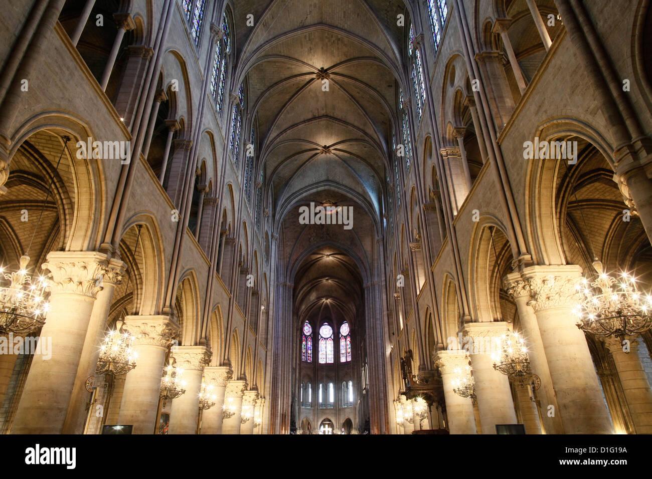 Nave, Notre-Dame de Paris cathedral, Paris, France, Europe - Stock Image