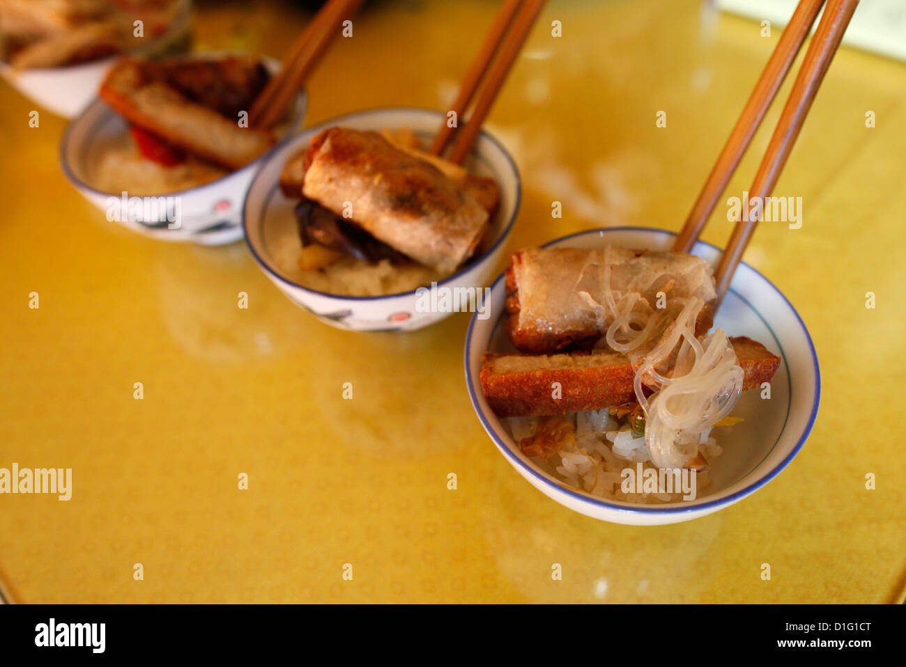 Vegetarian offerings, Tu An Buddhist temple, Saint-Pierre-en-Faucigny, Haute Savoie, France, Europe - Stock Image