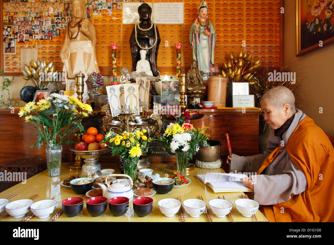 Buddhist ceremony at Ancestors' altar, Tu An Buddhist temple, Saint-Pierre-en-Faucigny, Haute Savoie, France, - Stock Image