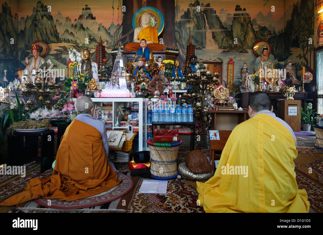 Buddhist ceremony, Tu An Buddhist temple, Saint-Pierre-en-Faucigny, Haute Savoie, France, Europe - Stock Image