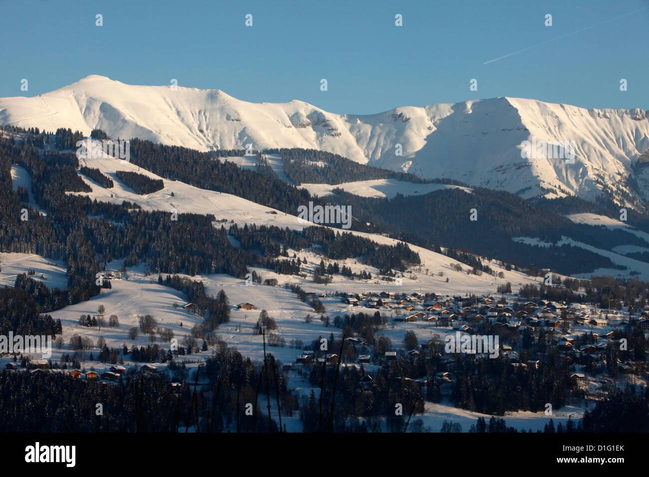 Mont Blanc mountain range, Mont d'Arbois in Megeve, Haute-Savoie, French Alps, France, Europe - Stock Image