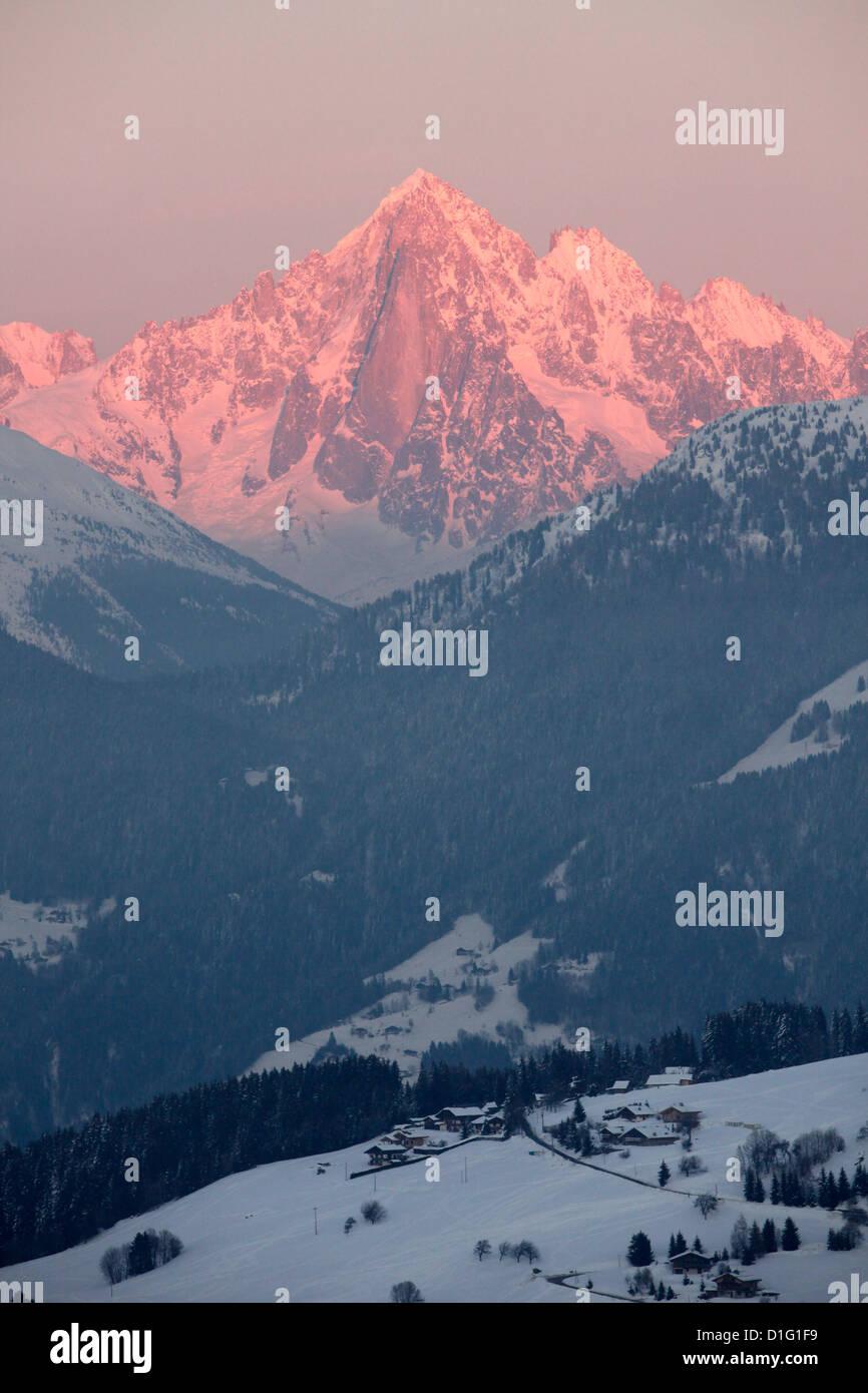 The Green Needle, Mont Blanc mountain range, Megeve, Haute-Savoie, French Alps, France, Europe - Stock Image