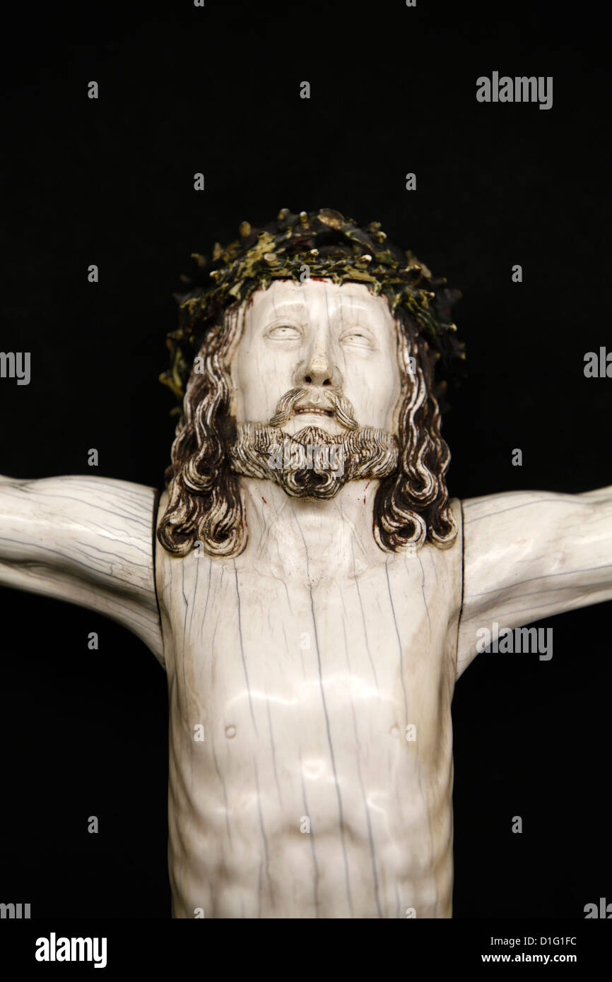 Detail of a Crucifixion sculpture in Notre-Dame de Paris cathedral Treasure Museum, Paris, France, Europe - Stock Image