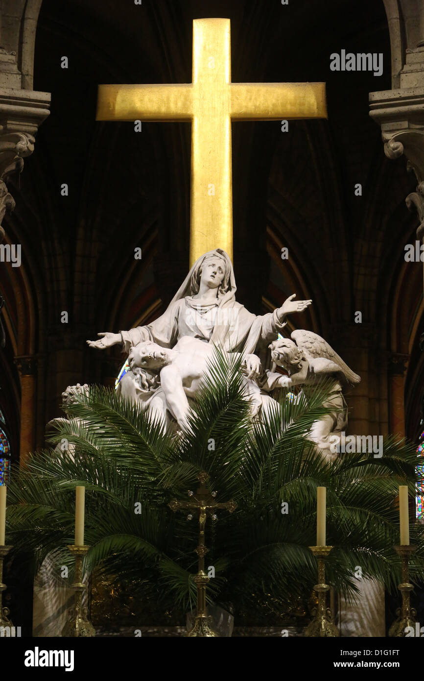 Pieta sculpture on Palm Sunday, Notre Dame Cathedral, Paris, France, Europe Stock Photo