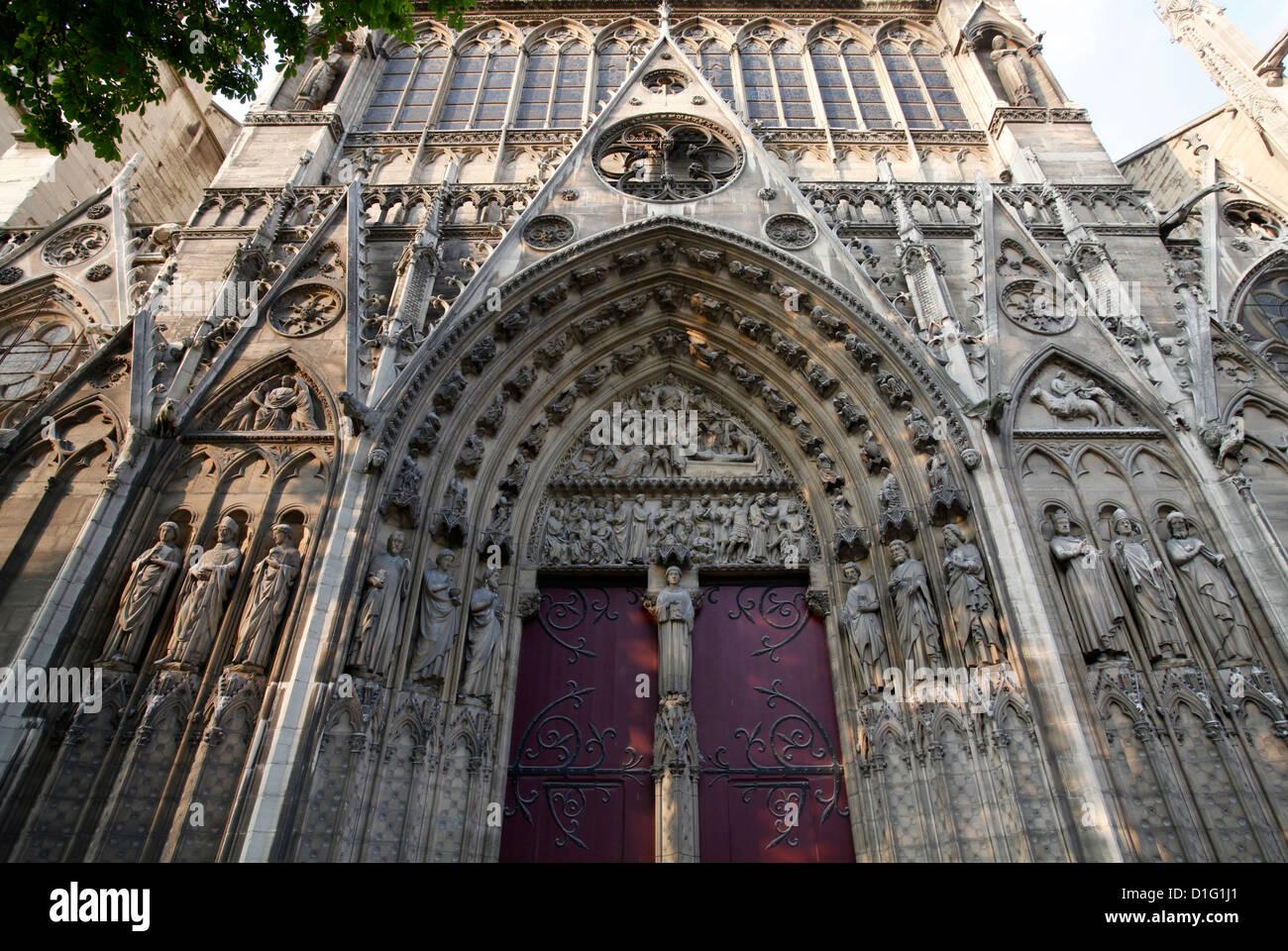 Saint-Etienne's gate, South facade, Notre Dame Cathedral, Paris, France, Europe - Stock Image