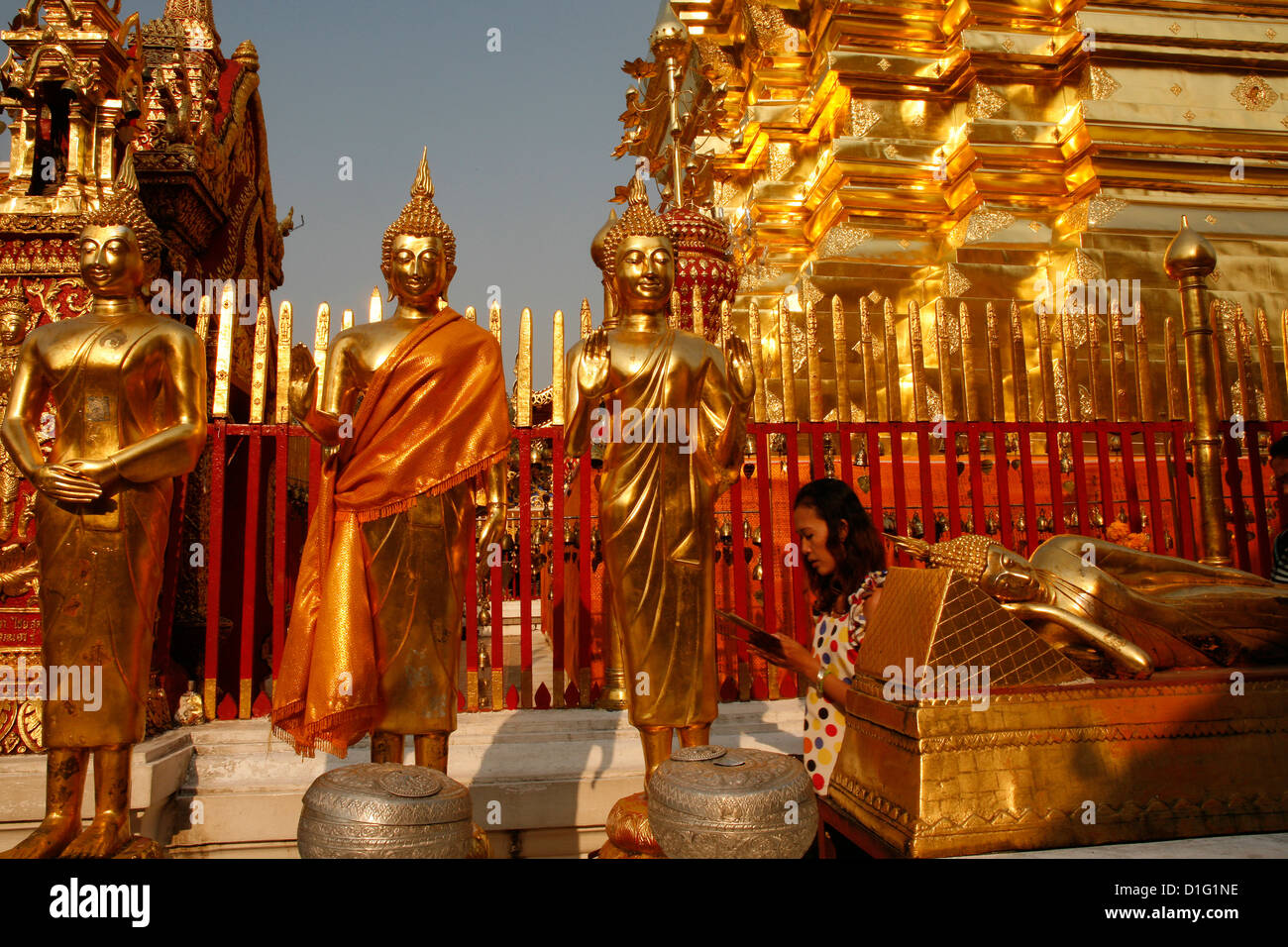 Procession and Buddha statues in Doi Suthep temple, Chiang Mai, Thailand, Southeast Asia, Asia - Stock Image
