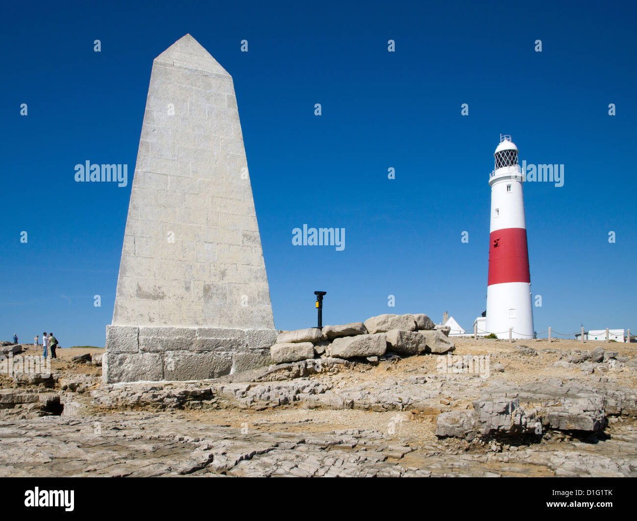 Portland Bill lighthouse and Trinity House Obelisk at the tip of the Isle of Portland on the Dorset coast near Weymouth - Stock Image