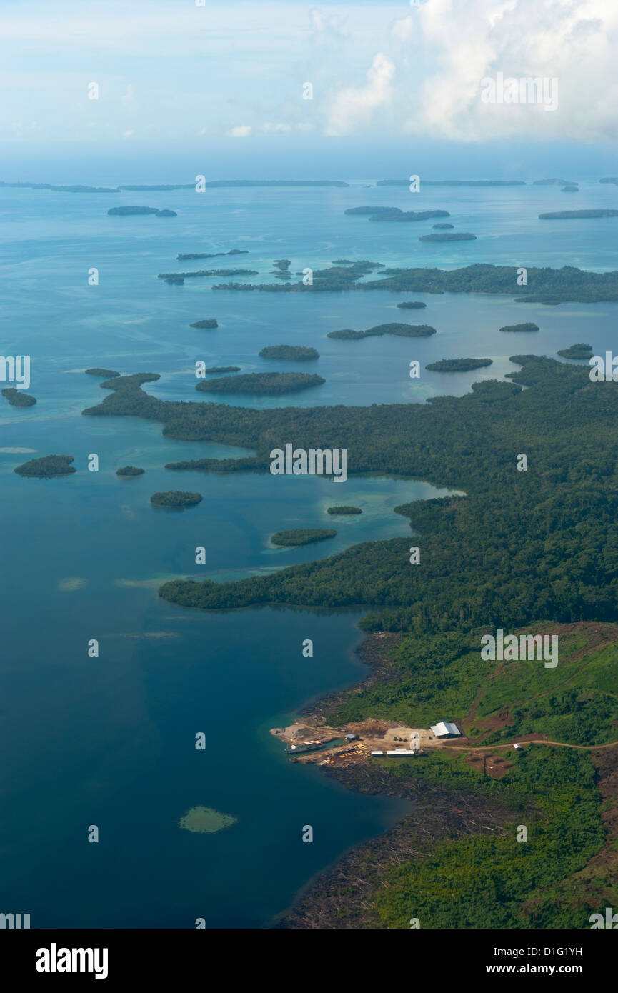 Aerial of the Marovo Lagoon, Solomon Islands, Pacific - Stock Image