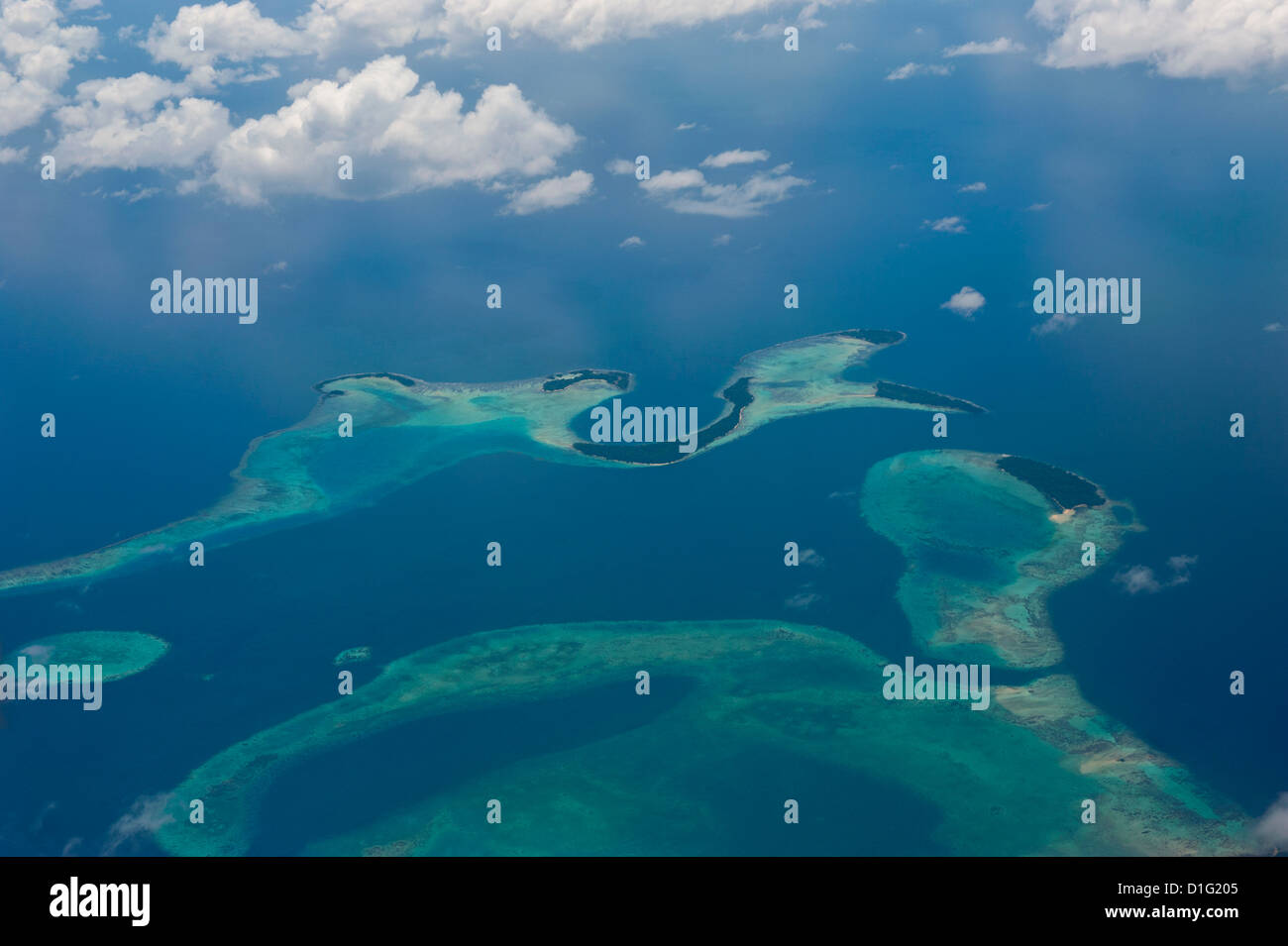 Aerial of the Russell Islands, Solomon Islands, Pacific - Stock Image