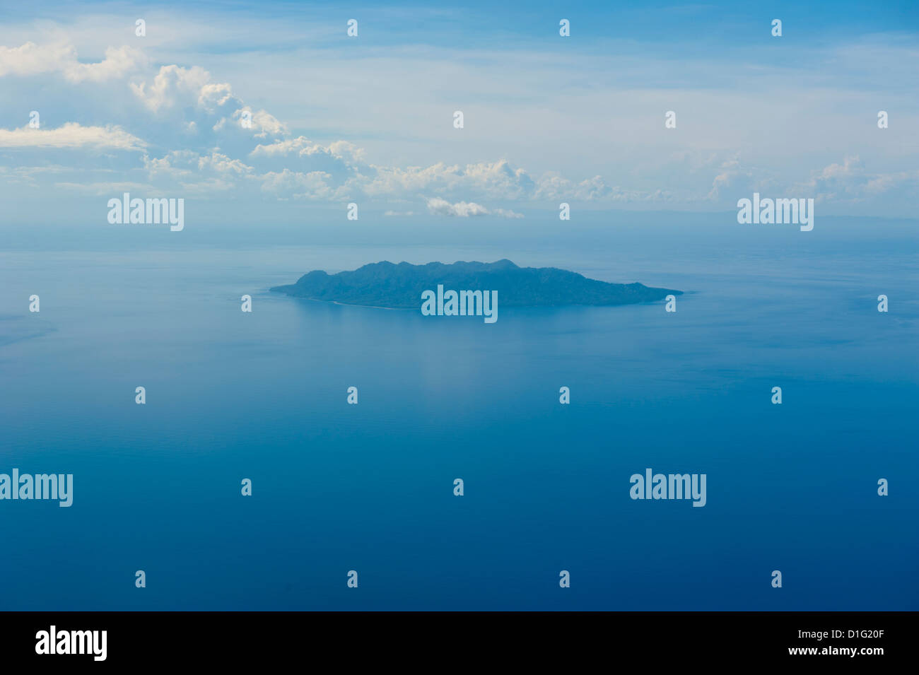 Aerial of the Sawo Island, Solomon Islands, Pacific - Stock Image