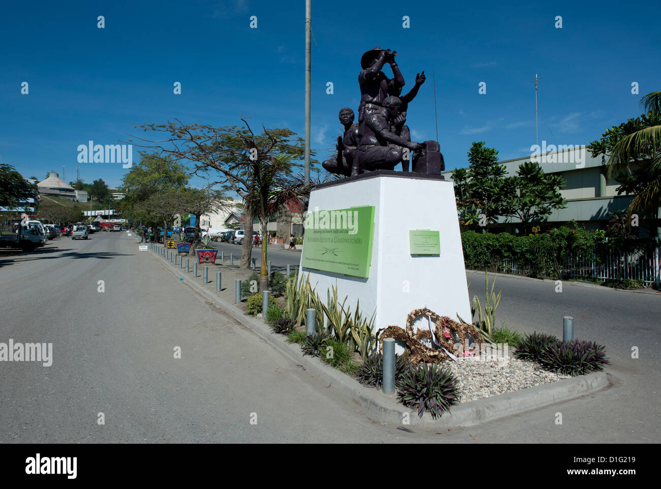 Second World War Memorial in the center of Honiara, capital of the Solomon Islands, Pacific - Stock Image