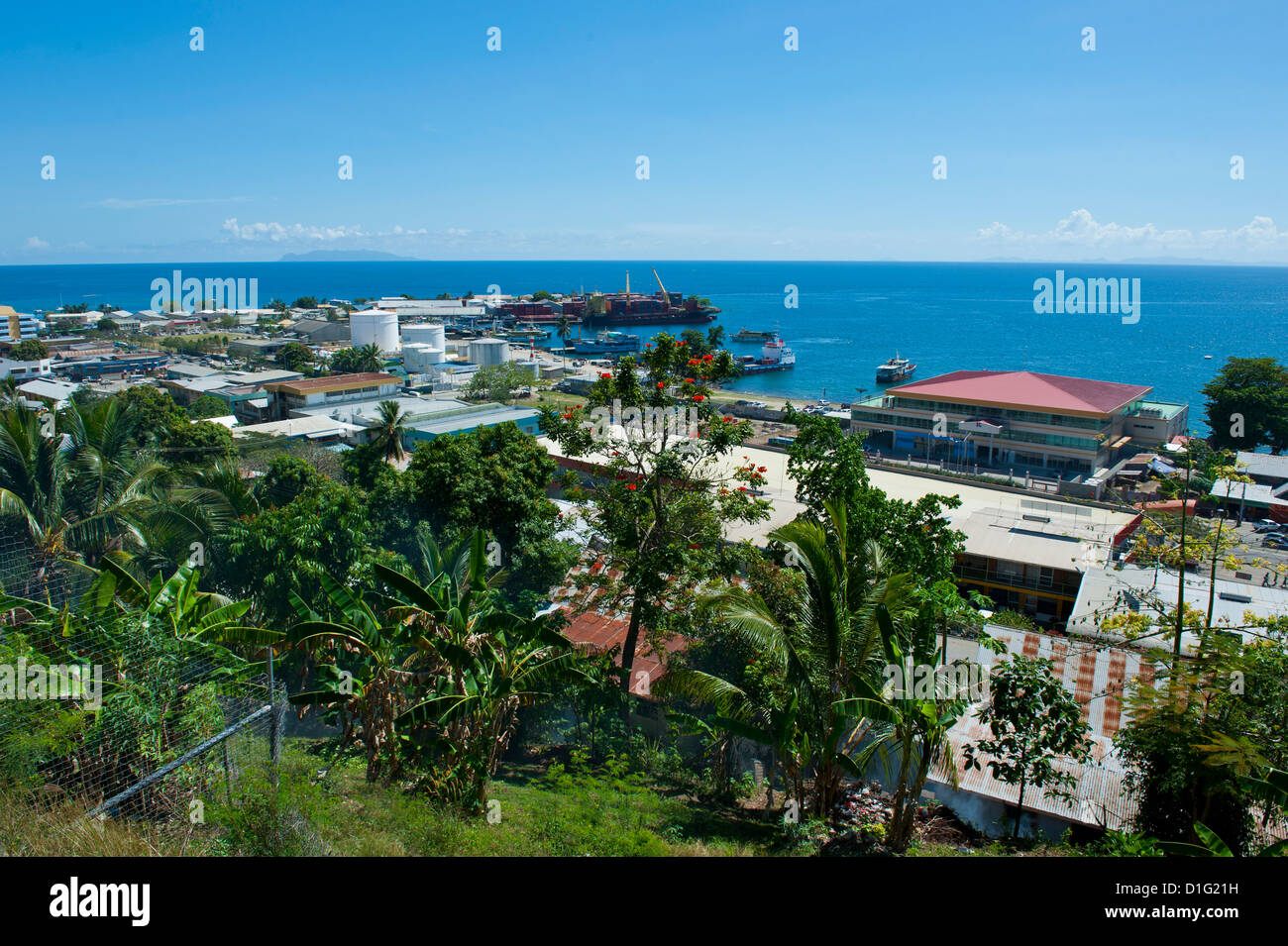 View over Honiara, capital of the Solomon Islands, Pacific - Stock Image