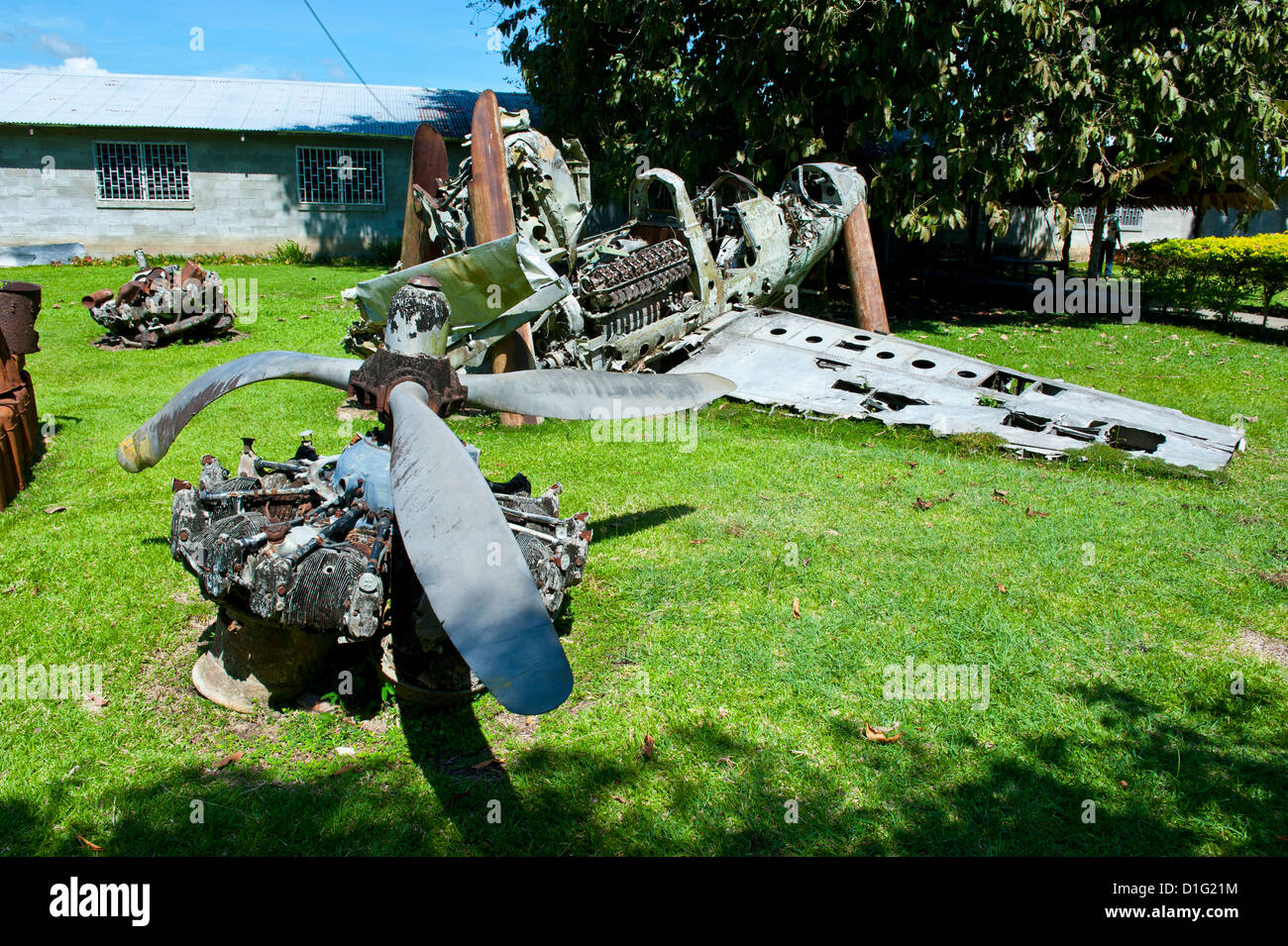 Second Wordl War relic at the Betikama SDA mission, Honiara, capital of the Solomon Islands, Pacific - Stock Image